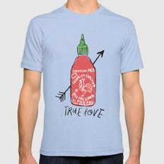 True Love Mens Fitted Tee Tri-Blue SMALL