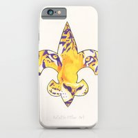 iPhone & iPod Case featuring Fleur De Lis LSU Tiger by KristinMillerArt