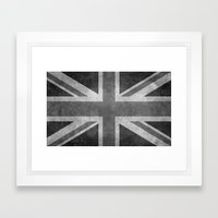 Union Jack Vintage retro style B&W 3:5 Framed Art Print