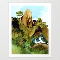 Love Under The Mountain Art Print