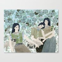 Girls With Pugs Among Ro… Canvas Print