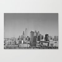 Black and White Philadelphia Skyline Canvas Print