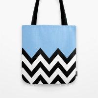 BLUE COLORBLOCK CHEVRON Tote Bag