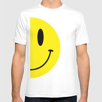 Half Smile (Left) Mens Fitted Tee White SMALL