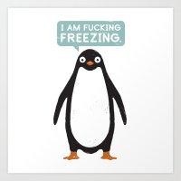 Talking Penguin Art Print