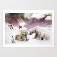 Polar Bears And Penguin Art Print