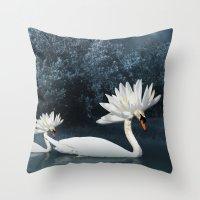 Tribal Swans Throw Pillow