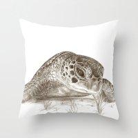 A Green Sea Turtle :: Earthtones Throw Pillow