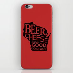 Red and Black Beer, Cheese and Good Company Wisconsin Graphic iPhone & iPod Skin