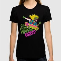 The Walking Shred Womens Fitted Tee Black SMALL