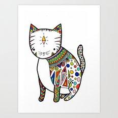 Patterned Cat Art Print
