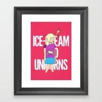 Ice-Cream And Unicorns Framed Art Print