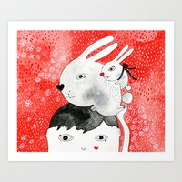 Bunnies on my head Art Print