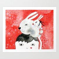Bunnies On My Head Art Print