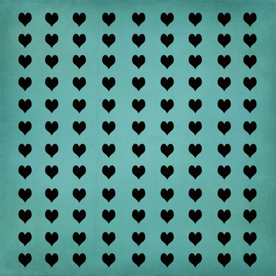 Rows Of Hearts (teal) Art Print