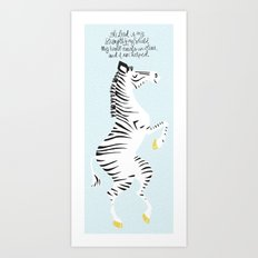 Blue Zebra Left Art Print