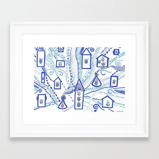 Rainy Day, Village Framed Art Print
