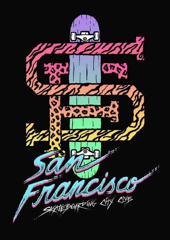San Francisco Skateboarding City Club Art Print