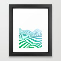 Green wave Framed Art Print