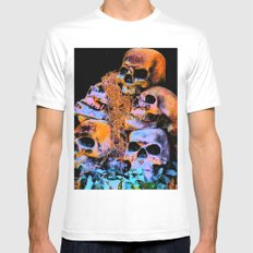 Skulls 2 By Annie Zeno SMALL Mens Fitted Tee White