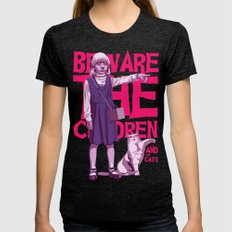 Beware The Children...an… Womens Fitted Tee Tri-Black SMALL