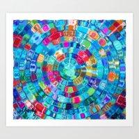 Mosaic Gems Aqua Art Print