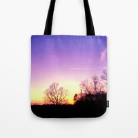 School Sunset Purple & Yellow Tote Bag
