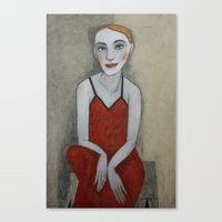 Actress In Red Dress Canvas Print