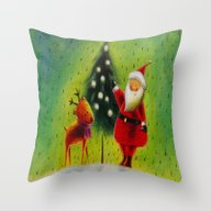 Santa And His Reindeer Throw Pillow