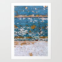 Worn Blue Wood Art Print