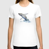 Humpback Whale Womens Fitted Tee White SMALL