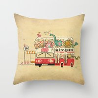 The Childhood Bus Throw Pillow