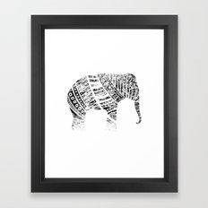 Endangered elephant - whiteout Framed Art Print