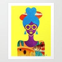 Girl with Sea Monster Shirt Art Print