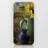 iPhone & iPod Case featuring Sunflowers and blue vase by Xaomena