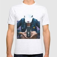 Bunny in a lavender field. Mens Fitted Tee Ash Grey SMALL