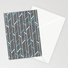 Herringbone Black and Blue Stationery Cards