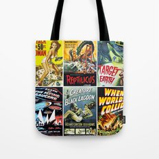 Vintage Sci-Fi Movie Poster Collage Tote Bag