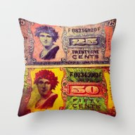 Throw Pillow featuring WWII US Military Money by ADH Graphic Design