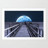 rose Art Prints featuring Once in a blue moon by Donuts