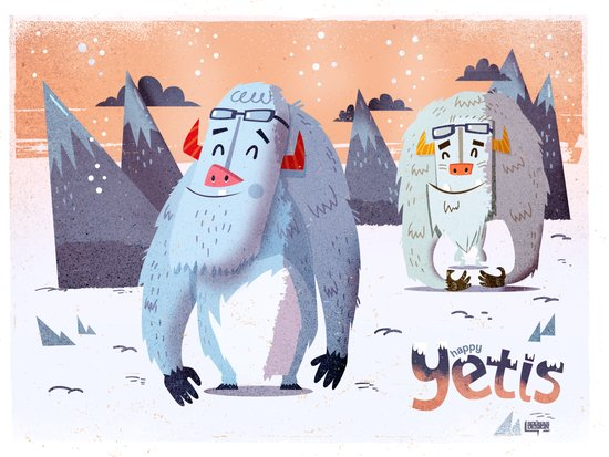 :::Happy Yetis::: Art Print