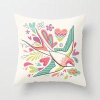 spring swallow Throw Pillow