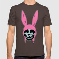 Grey Rabbit/Pink Ears Mens Fitted Tee Brown SMALL