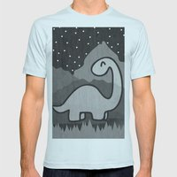 Dinosaur at midnight Mens Fitted Tee Light Blue SMALL