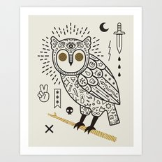 Hypno Owl Art Print