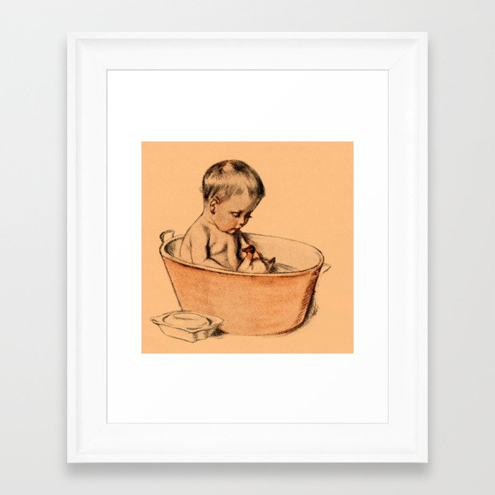 Baby bath vintage framed art print by mehrfarbeimleben for Vintage bathroom printables