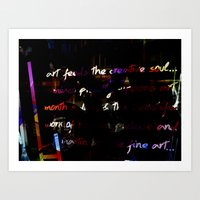 Glowing letters Art Print