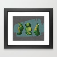 3 dragons in a cave Framed Art Print