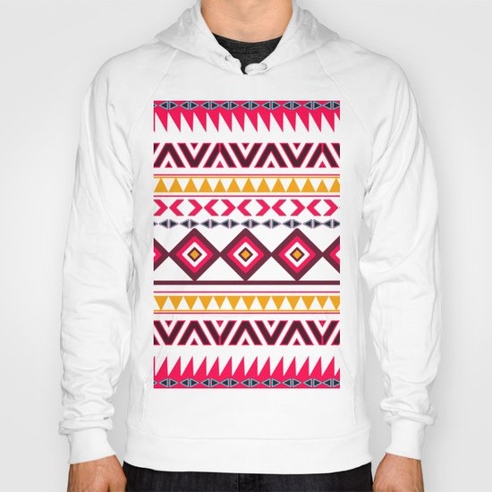 Pink Orange Bright Andes Abstract Aztec Pattern Hoody