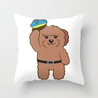 Poodle Police Throw Pillow